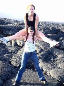 Angela and I doing acro on a live volcano in Hawaii!